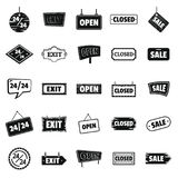 Signboards with text Design Elements icons set in silhouette style. Billboard Signage Light Bulbs, Frames, Arrows, For advertising, Poster Retro Sign. Vector Stock Photos