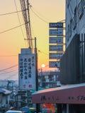 Signboards wzdłuż ulic Kyoto w wieczór obraz stock