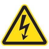 Signe à haute tension Flèche noire d'isolement dans la triangle jaune icône d'avertissement illustration libre de droits