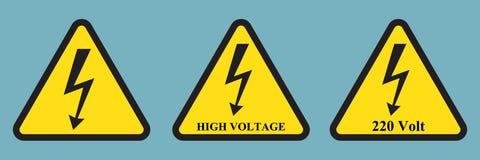 Signe à haute tension Flèche noire d'isolement dans la triangle jaune icône d'avertissement illustration de vecteur