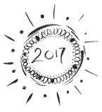 2017 signe à l'encre noire, calligraphie tirée par la main de brosse Photo libre de droits