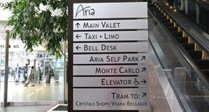 Signe à l'hôtel d'aria Images libres de droits