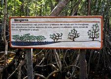 Signe à une forêt protégée de palétuvier Images stock