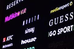 Signe électronique Enseignes au néon sur le mail de galaxie dans la nuit images libres de droits
