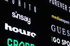 Signe électronique Enseignes au néon sur le mail de galaxie dans la nuit photographie stock libre de droits