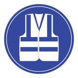 Signe élevé de vestes de visibilité d'usage bleu Photographie stock libre de droits