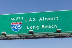 Signe aérien d'autoroute d'aéroport de LAX Photos libres de droits