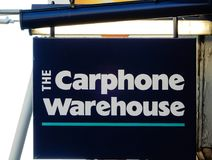 Signe accrochant de Carphone Warehouse images libres de droits