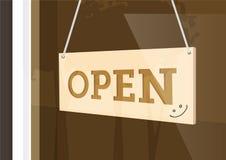 Signe accrochant Open avec la gifle souriante Image stock
