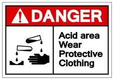Signe acide de symbole de vêtements de protection d'usage de région de danger, illustration de vecteur, isolat sur le label blanc illustration de vecteur