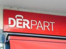 Signe allemand de Derpart Reisevertrieb de société image stock