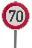 Signe allemand de limitation de vitesse - 70 km/h Photographie stock