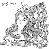 Signe astrologique de Cancer en tant que belle fille Image stock