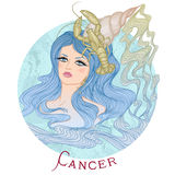 Signe astrologique de Cancer en tant que belle fille Images libres de droits
