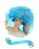 Signe astrologique de Poissons en tant que belle fille Images libres de droits