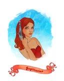 Signe astrologique de Sagittaire comme beau gir illustration libre de droits