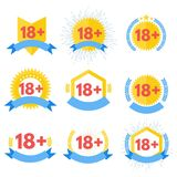 Signe au-dessous de l'icône dix-huit 18 rouge plus Illustration de vecteur Image stock