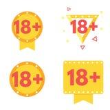Signe au-dessous de l'icône dix-huit 18 rouge plus Illustration de vecteur Photos libres de droits
