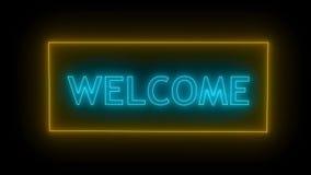 Signe au néon Néon bienvenu banque de vidéos