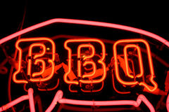 Signe au néon de BBQ Photo libre de droits