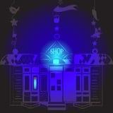 Signe au néon de boutique la nuit Image stock