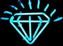 Signe au néon de diamant de cru Photographie stock