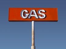 Signe au néon de gaz de désert de cru Photographie stock