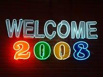 Signe au néon de la bienvenue 2008 Photo libre de droits