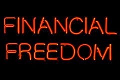 Signe au néon de liberté financière Photographie stock