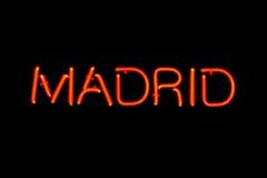Signe au néon de Madrid Image stock
