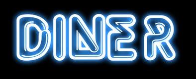 Signe au néon de WAGON-RESTAURANT bleu Images libres de droits