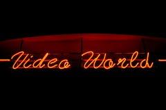 Signe au néon du monde visuel Photos libres de droits
