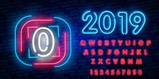 Signe au néon numéro 0, icône au néon de calibre zéro d'enseigne, bannière légère, enseigne au néon, la publicité lumineuse noctu illustration de vecteur