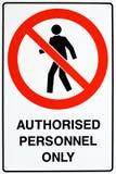 Signe autorisé de personnel seulement photo libre de droits