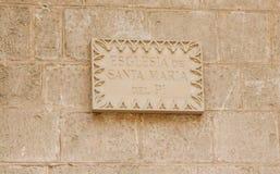 Signe avec le nom Esglesia Santa Maria del Pi image libre de droits
