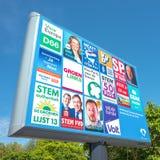 Signe avec les partis politiques et leur liste de tracteurs pour les ?lections europ?ennes photos libres de droits