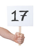 Signe avec un nombre, 17 Photo libre de droits