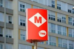 Signe Barcelone, Espagne d'entrée de métro de Barcelone Images libres de droits