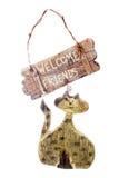Signe bienvenu de chat rustique Images stock