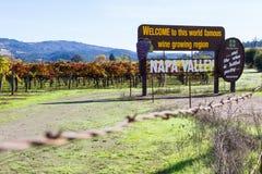 Signe bienvenu de Napa Valley photos stock