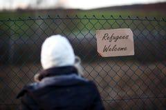 Signe bienvenu de réfugié Photo stock