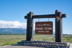 Signe bienvenu grand de parc national de Teton Photographie stock libre de droits