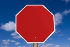 Signe blanc d'arrêt Photographie stock libre de droits