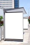 Signe blanc d'arrêt de bus Photos libres de droits