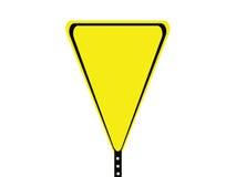 Signe blanc noir et jaune de triangle Photos libres de droits