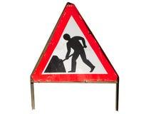 Signe britannique de travaux routiers. Photos libres de droits