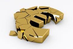 Signe cassé d'euro d'or Photo libre de droits