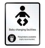 Signe changeant de l'information d'équipements de bébé comique illustration de vecteur