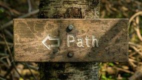 Signe : Chemin, boulonné sur un arbre image libre de droits