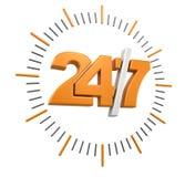 24/7 signe (chemin de coupure inclus) Images stock
